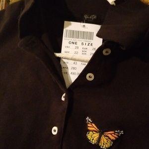 NEW john galt black Caroline Button Top butterfly